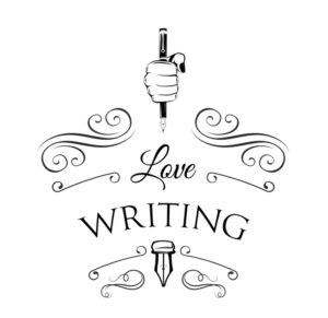 """Woman's hand with a pen and the words """"Love writing"""""""